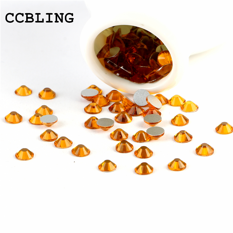CCBLING crystal Topaz ss3-ss30 Glue On Non Hotfix Flatback rhinestones nail  art crystal decorations DIY 95a66c933430
