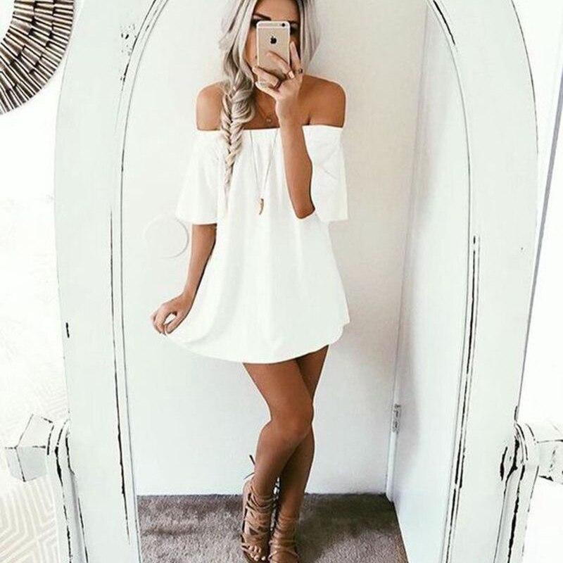 Womens Summer Off Shoulder Lace Dresses Summer Mini Dress Ladies Party Casual Dress