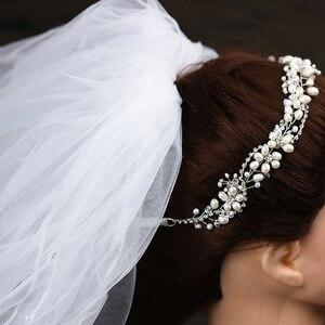 Image 5 - Leliin 淡水真珠贅沢結婚式のヘアつるブライダルヘッドピース花嫁クリスタルヘアアクセサリーリボン