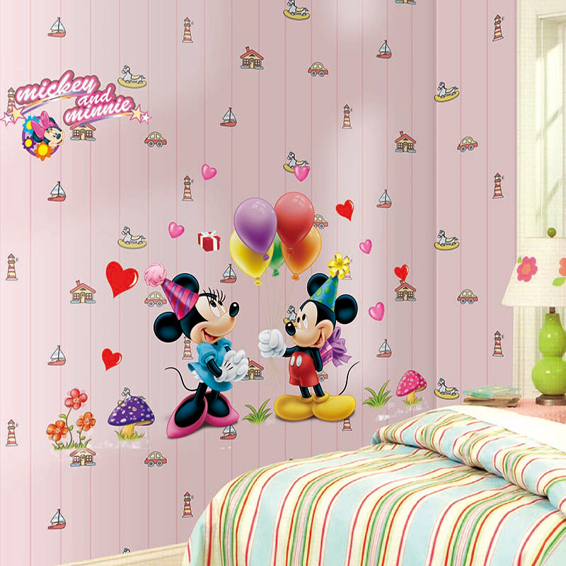 Cartoon Cute Mickey Minnie Mouse Balloon Pvc Wall Stickers Kids Room Bedroom Kindergarten Play Room Home Decoration Poster