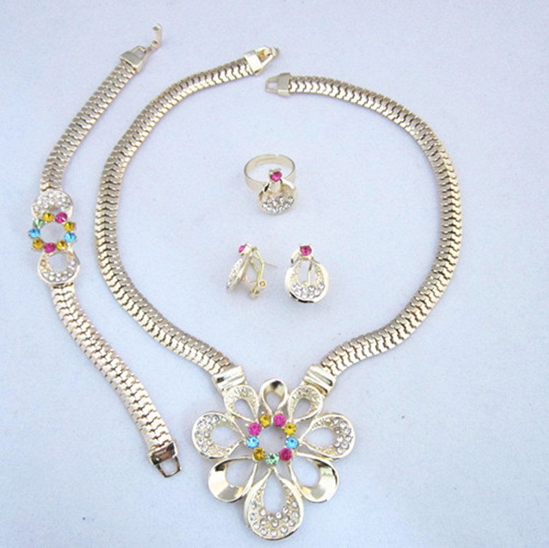 Gold Color Multicolor Rhinestone Jewelry Sets Free Shipping For Wedding