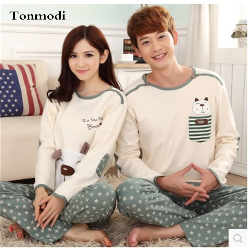 Pajamas Women Spring And Autumn Cotton Pajamas Love Sleep Long-sleeved Character Pyjama Men Women's Lounge Couples Pajama Sets