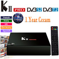 Cccam Cline Para 1 Ano KII Pro DVB-S2 Caixa de Tv Android DVB-T2 S905 Amlogic 2 GB/16 GB Android 5.1 Tv Box WiFi BT4.0 HDMI 4 K Jogador