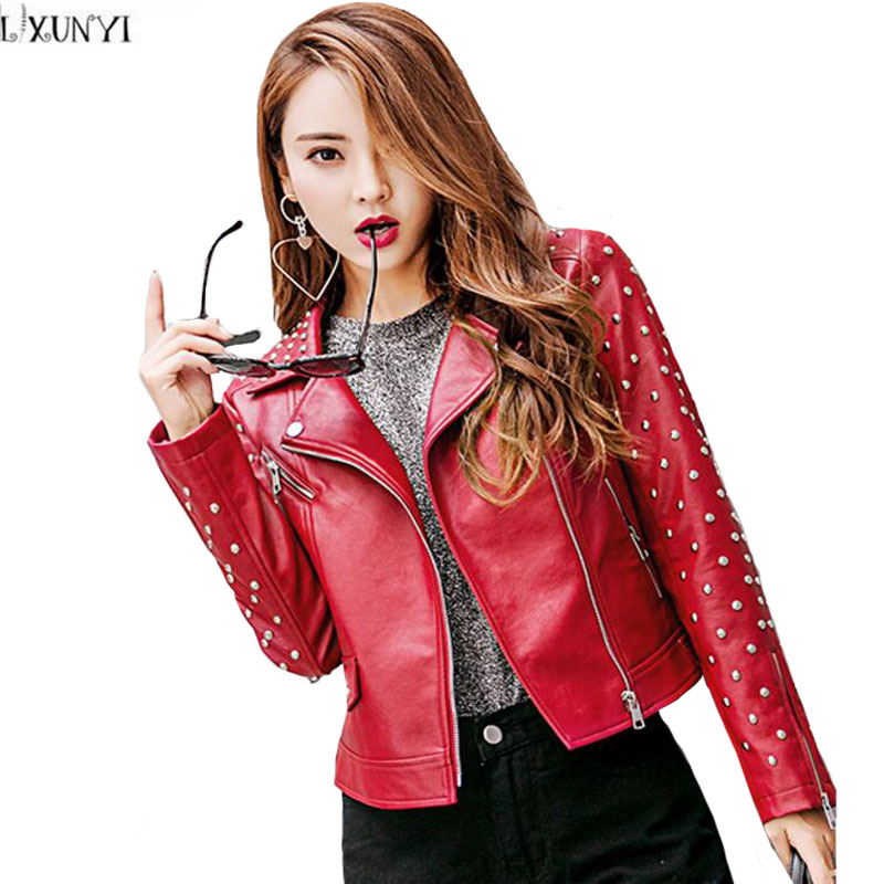 LXUNYI New Arrival Rivet Motorcycle   Leather   jacket Women 2019 Fashion Ladies   Leather   jackets Autumn Back Embroidery Short Coat
