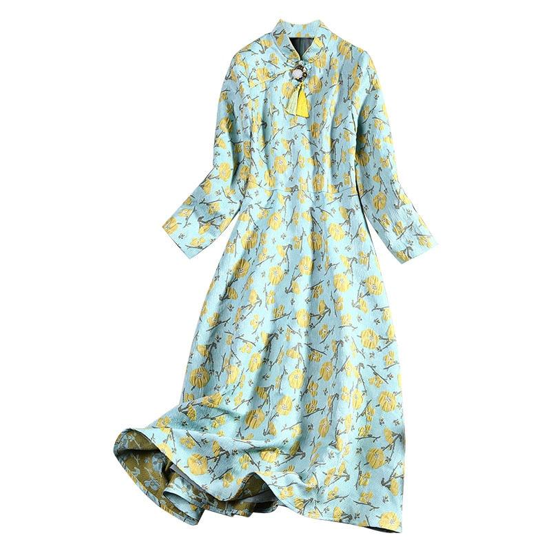 Manches Floral Dames 2018 Jacquard Style Vintage Jaune Femme Et Soirée  Rétro Robe longue Évasée Ajustée ... bd98ae2236b