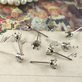200pcs Dull Silver Earring Hook studs cameo,earrings base setting stud accessories
