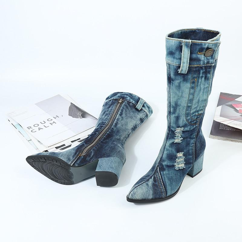 Cowgirl Blu Botines Da Autunno Bota Mujer Alti Feminino Denim Scarpe Stivali Punk Sexy Tacchi Grosso A Punta Moda Zapatos wx0gqXBq