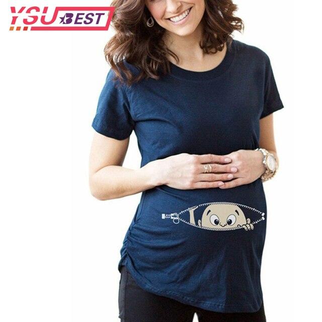 0aab526ef 2019 mujeres embarazadas camisetas ropa de maternidad de verano Slim de  dibujos animados divertido superior de