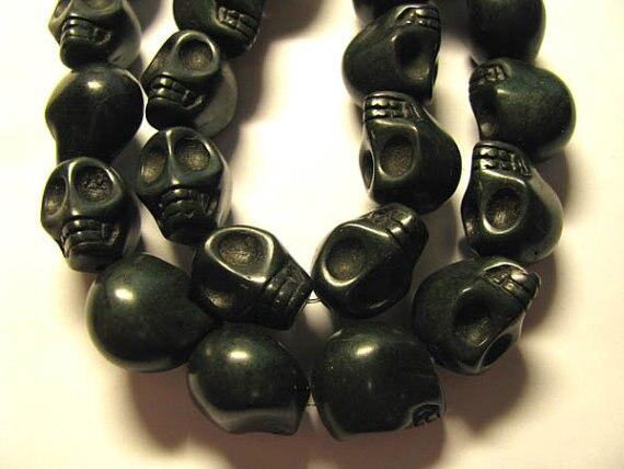 Livraison gratuite-vente en gros 10 brins 10x12mm turquoise pierre gemme squelette crâne noir jet multicolore assortiment bijoux perles 8x10mm