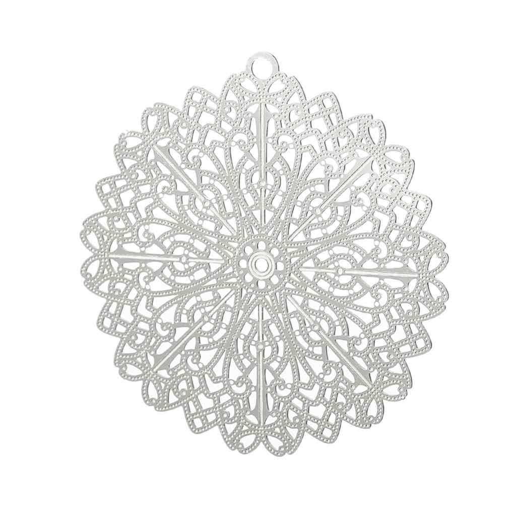 """DoreenBeads amulet ze stali nierdzewnej wisiorki okrągły srebrny kwiat w kolorze brązu wytłaczany wzór 48mm (1 7/8 """") x 46mm (1 6/8""""), 1 sztuka"""