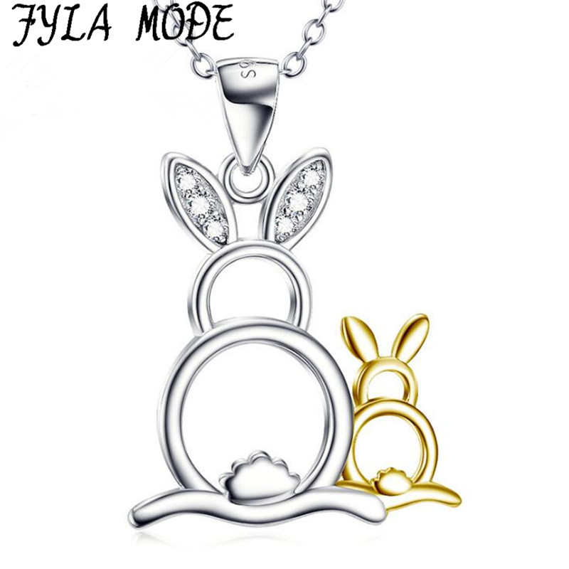 Fyla Mode Genuine 925 Sterling Silver Jewelry Animal Pendant Necklace for Women Rabbit Mother and Baby Necklace Jewelry Gift