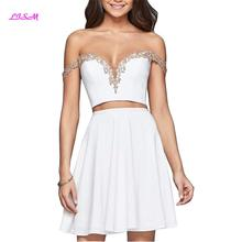 White Off Shoulder Two Pieces Mini Cocktail Dress Appliques Crop Top Homecoming Sexy Backless Short satin kleid Prom Gowns
