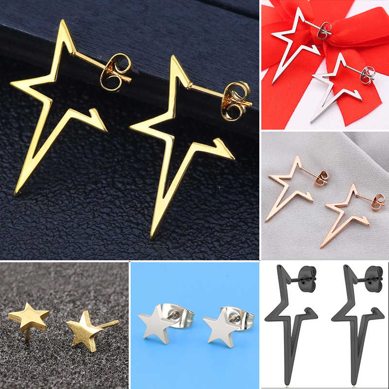Shuangshuo Hollow Out Star Stud Earrings For Women orecchini Gold Earings Punk Style Stainless Steel oorbellen Fashion Jewelry