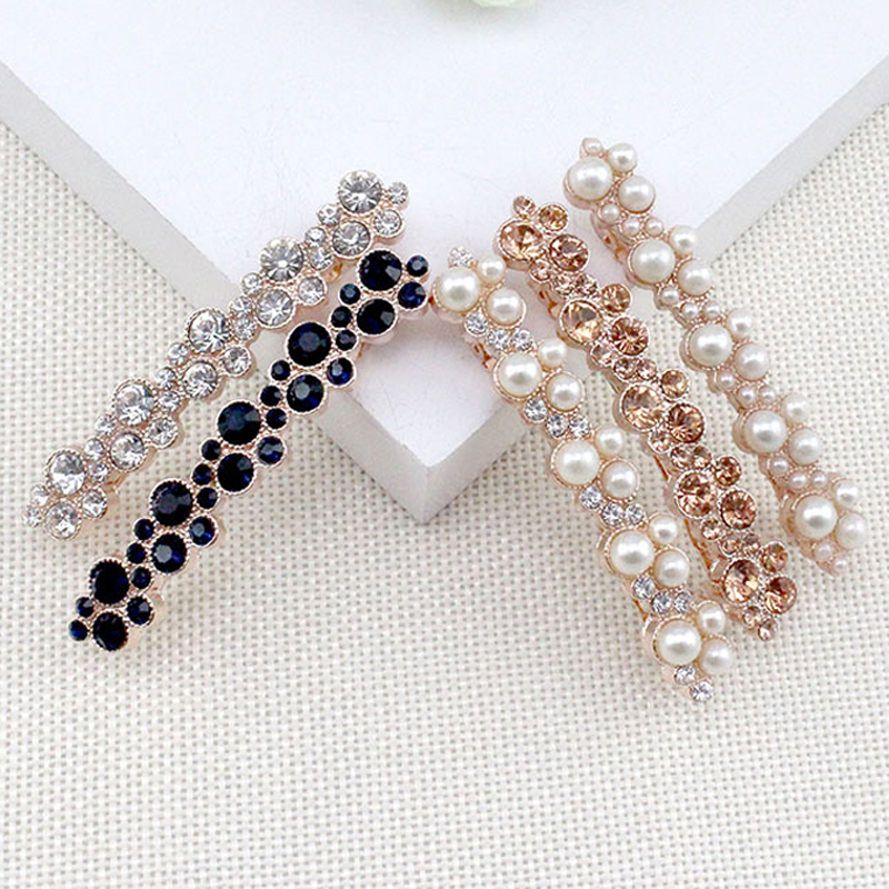 6 Pieces/Lot Women New Fashion Korean Crystal Rhinestone Hair Barrette Clip Pearl Hairpin Girls Hair Jewelry Accessories