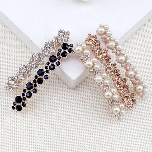 6 Pieces Lot Women New Fashion Korean Crystal Rhinestone Hair Barrette Clip  Pearl Hairpin Girls Hair Jewelry Accessories 155beaf46d7a