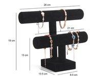 Black Velvet Bracelet Organizer 2 Tier Velvet Bracelet Holder Black Velvet Hovering T Bar Bracelet Holder Jewelry Display Stand