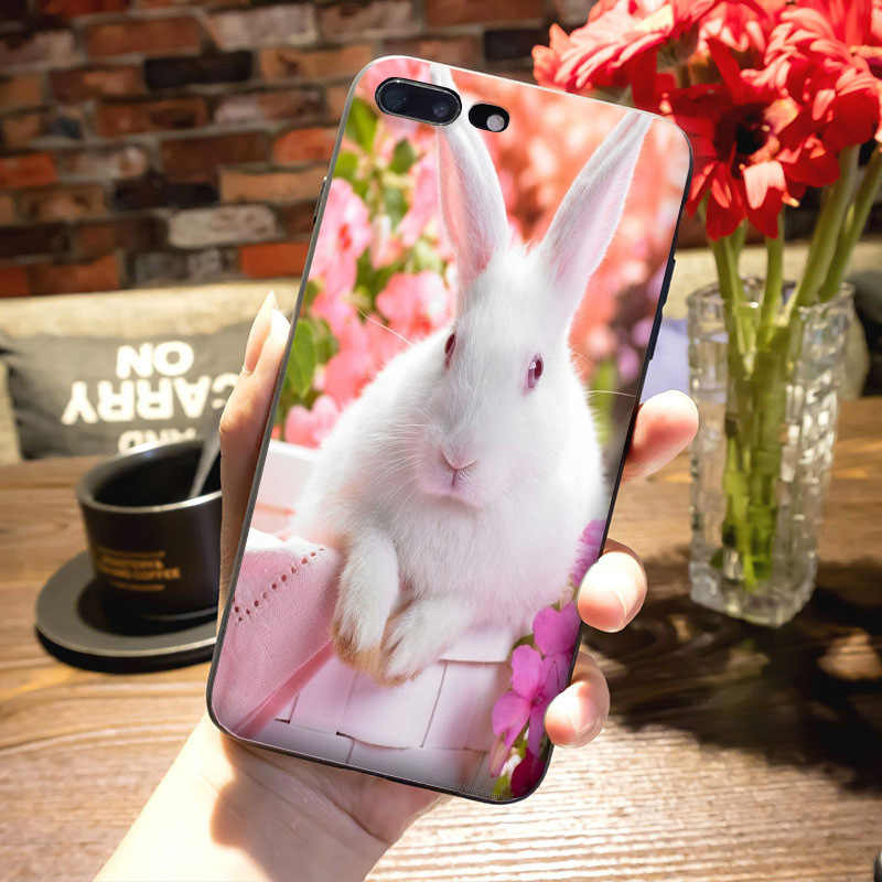 new product a3ba3 1663a MaiYaCa Cute white Bunny Rabbit Pink Diy Luxury High-end Protector phone  Case for Apple iPhone 8 7 6 6S Plus X 5 5S SE 5C case