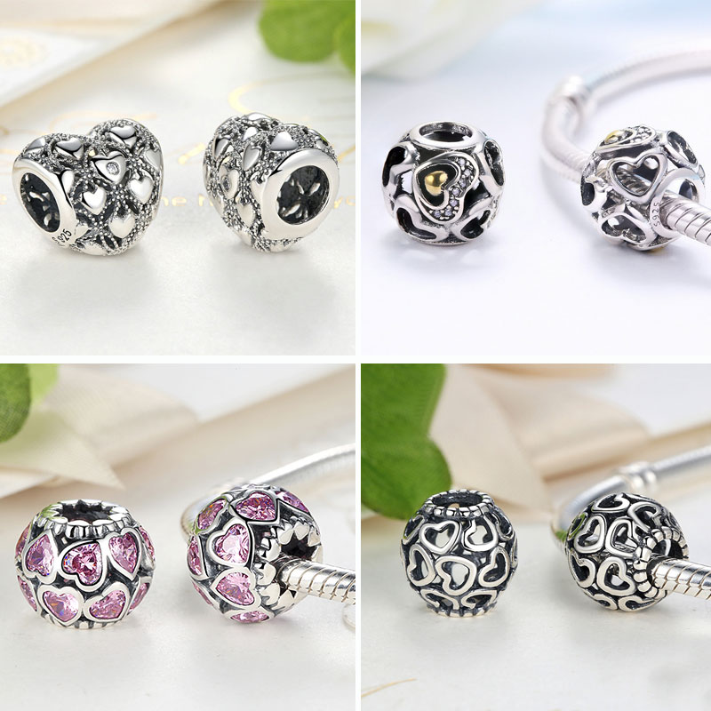 BISAER 925 Sterling Zilver Love All Around CZ Beads Fit Charms Zilver - Mode-sieraden - Foto 4