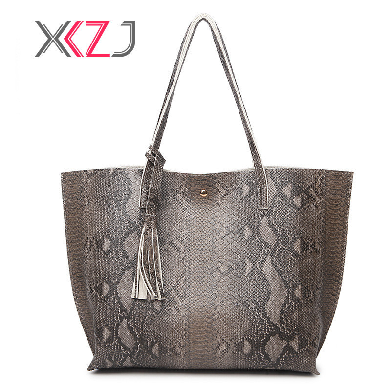 Hot Tassel Women Handbag Fashion PU Leather Shoulder Bags Lady Large Capacity Practical Female Handbag Serpentine Woman Bag