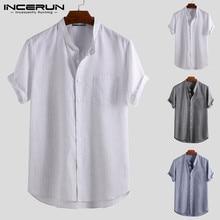 Men Shirt Chemise Short-Sleeve Collar Vintage-Stand Harajuku INCERUN Striped Breathable