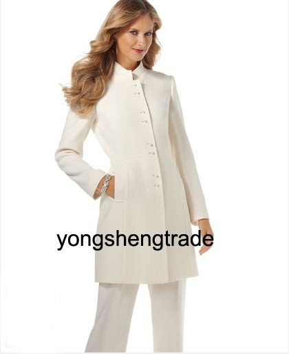 Ivory Women Suit Ladies Fashion Suits Custom Made Ladies Suits Long Jacket & Pants 474