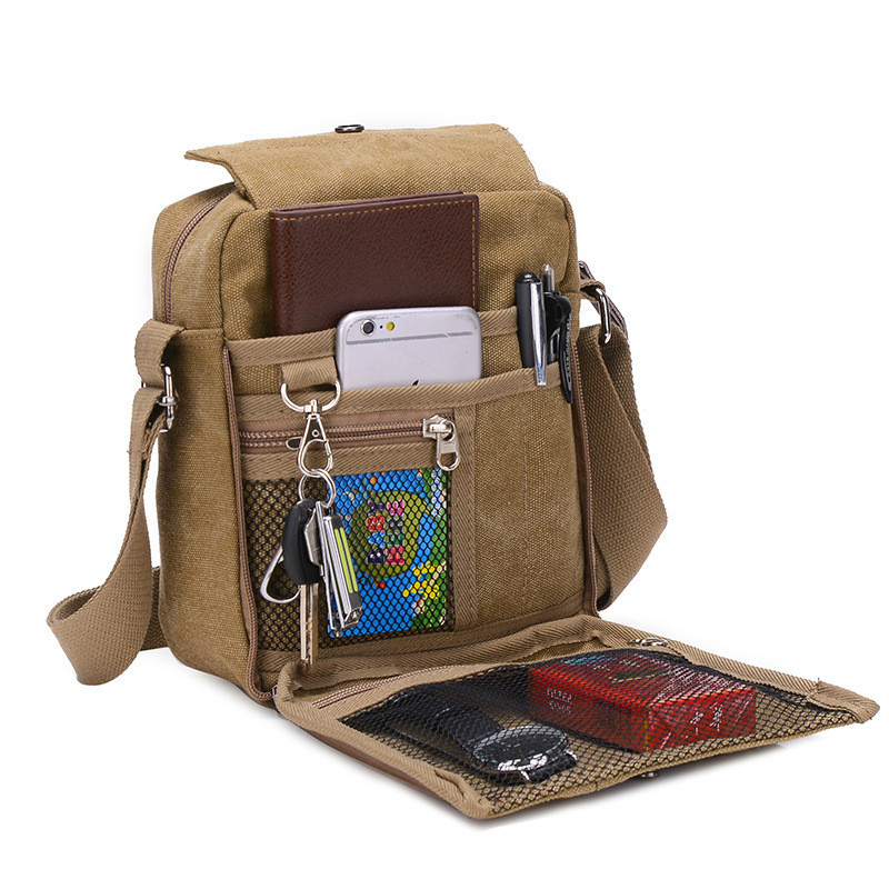 Crossbody Canvas Bags Flaps Designer Multi Function Shoulder Bags Vintage Canvas Messenger Bags Khaki