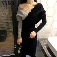 Womens Winter Dresses Sexy V Neck Wave Edge Cut Gray Black Patchwork Knit Dress Office Party