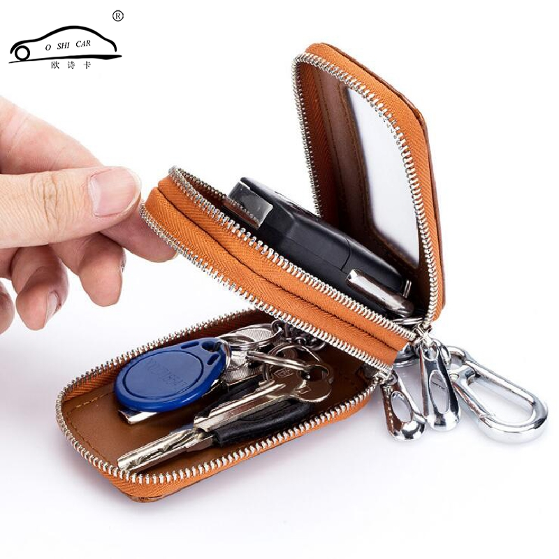 O SHI CAR Genuine Leather Car key Chain Case Double ayer / Metal Hook Zipper Car Key Bag Translucent