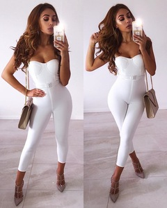 Image 1 - Women Summer Fashion Sexy Strap Belt White Bandage Jumpsuit 2020 Celebrity Designer FashionHigh Street Rompers Jumpsuit