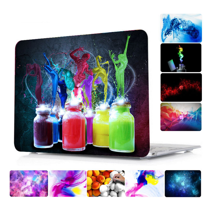 Raffiti Watercolor Pattern Hard Laptop Case for MacBook Air Pro Retina 11 12 13 15 Inch Case for Macbook A1707 A1706 Touch Bar pattern printing hard pc protective case for macbook pro 15 4 inch 2016 with touch bar a1707 marble grain dark grey