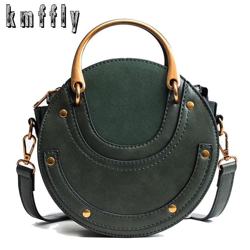 Hot Fashion Round Handbag Women Handbag Rivet Summer Lady Fashion Shoulder Messenger Bag Luxury Designer Leather Women Bag