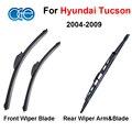 Combo da Borracha de Silicone Frente E Traseira Wiper Blades Para Hyundai Tucson, 2004-2009, Limpa-pára-brisas Acessórios Do Carro