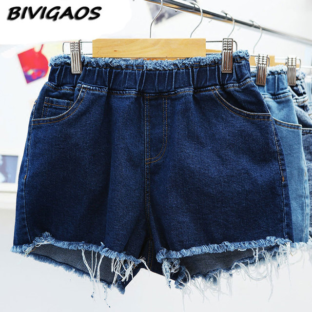 2016 Summer New Womens Elastic Denim Shorts Loose Casual Jean Shorts Wide Leg Jeans Shorts Tassels Hotpants Short Jeans Women