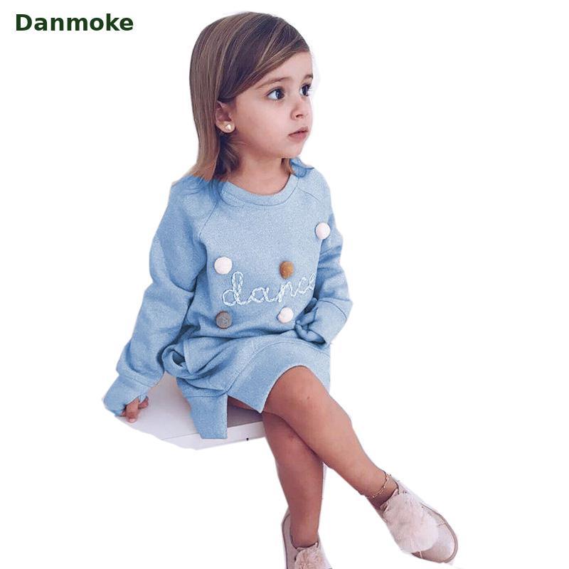 Danmoke 2018 Otoño Invierno carta de dibujos animados bordado sudadera chica moda largo vestido con capucha Moletom Feminina