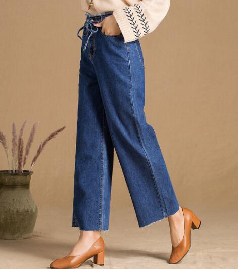 De Pantalones Ancha Mujer Casual Primavera Cintura Mujeres Las Algodón Capris Azul Denim Elástico Tyn0814 Mezcla Para Nueva Pierna Jeans Moda dt6OUwdqf
