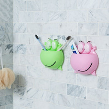 1 PCS Frog Shaped Toothbrush Rack Cartoon Wall Stick Paste Organizer Bathroom Accessories Strong Suction Toothbrush Holder
