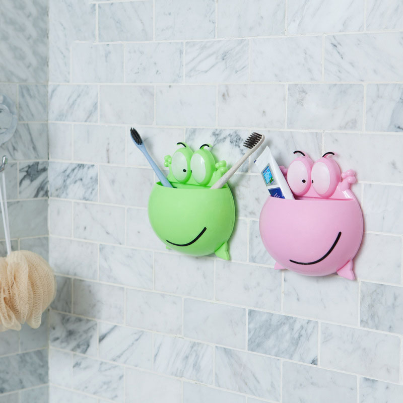 1 PCS Frog Shaped Toothbrush Rack Cartoon Wall Stick Paste Organizer Bathroom Accessories Strong Suction Toothbrush Holder image