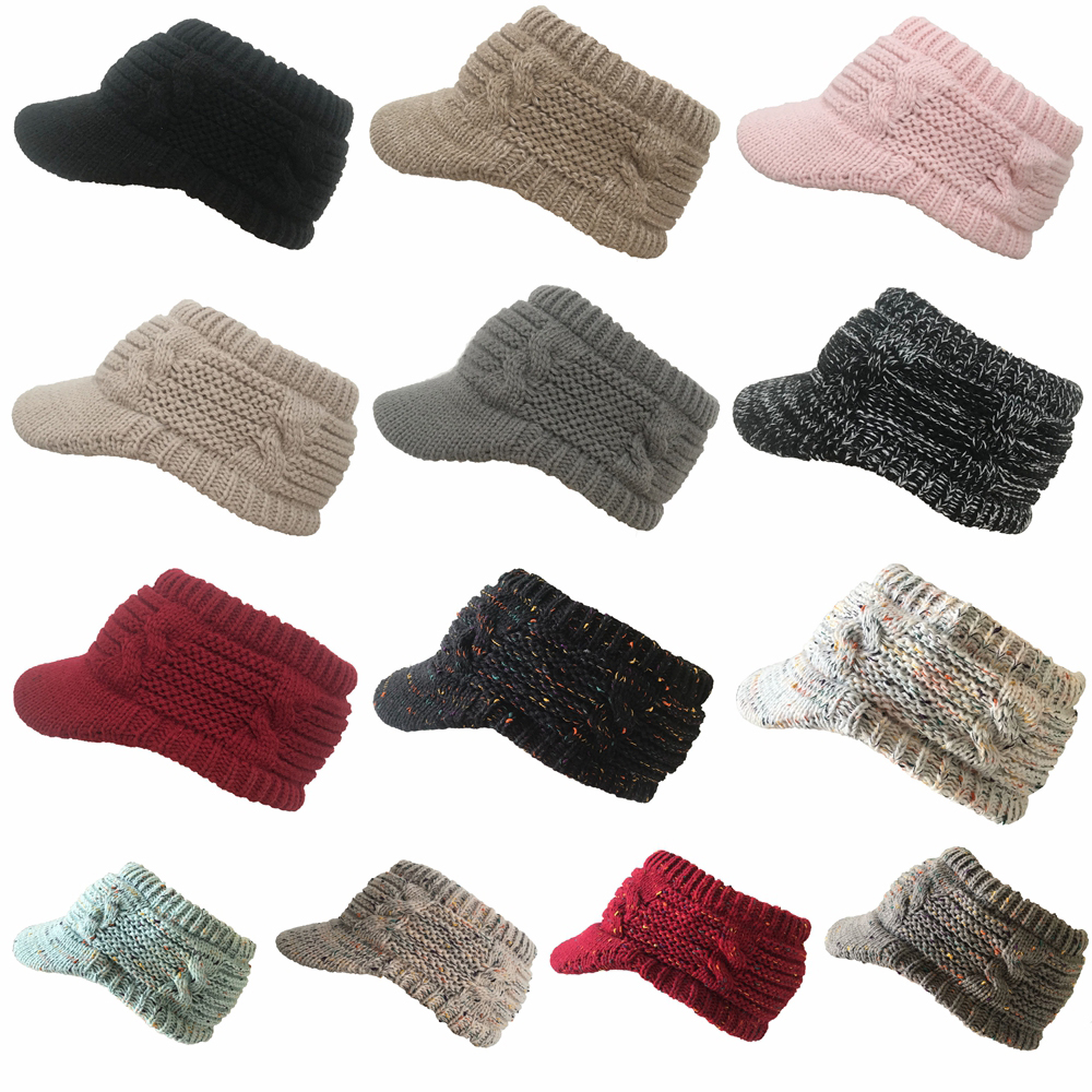2019 New Fashion Ponytail Caps Women Girl's Winter Warm Knit Thicken Hat Wool Snow Ski Caps With Visor New Design Hot Sale