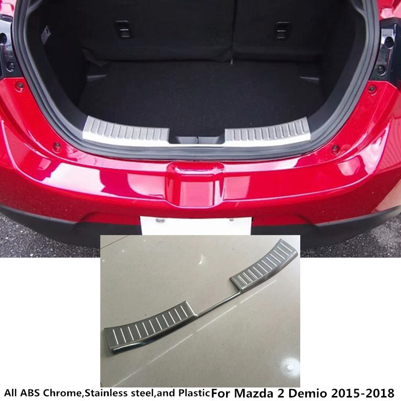 цена на For Mazda 2 Demio 2015 2016 2017 2018 car styling inner inside Rear Bumper trim Stainless Steel Scuff Sill trunk plate pedal