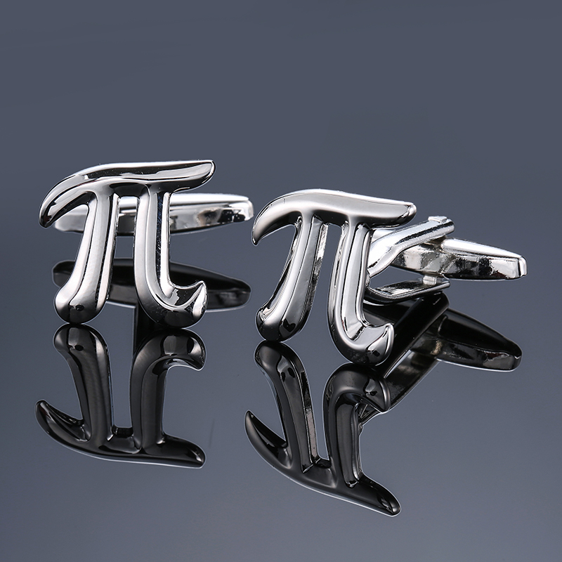 DY The new high quality brass silver round diameter conversion symbol PI Cufflinks Mens  ...