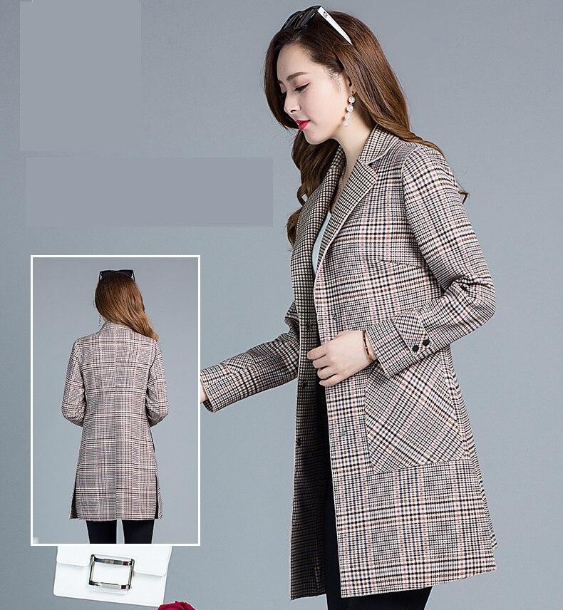 Vêtements K4074 De Tranchée Automne Imprimé Coffee Treillis Classique Haute Coréenne Femmes Plaid Qualité Couture Manteaux Pour Manteau qItwn61p