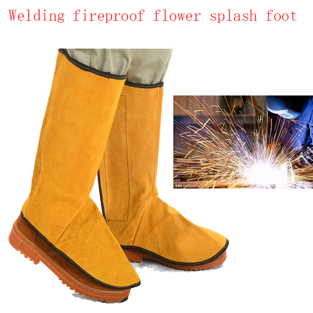 2019New TIG MIG MAG Leather fireproof flower splash-proof foot cover high temperature welding foot protection equipment