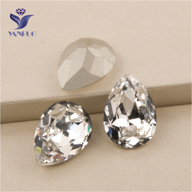YANRUO  4320 All Sizes Crystal Teardrop Sew On Crystals Stones Pointed Back  Setting Sewing Rhinestone For Craft 4cea4535c754
