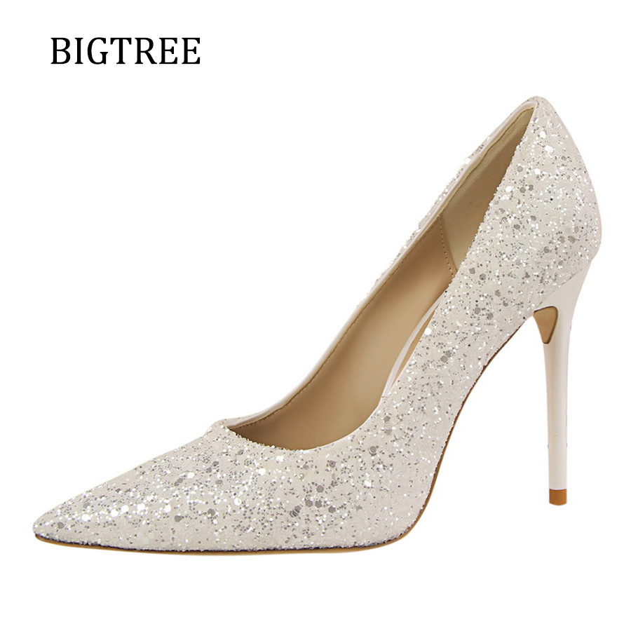 Size34-39 Women Pumps High Heels White Sequins Wedding Party Black Heels Shallow Mouth Pointed Toe Ladies Shoes Pumps W09219-1 high quality women shoes colorful rhinestone shallow mouth high heels mature women pumps round toe slip on party wedding shoes
