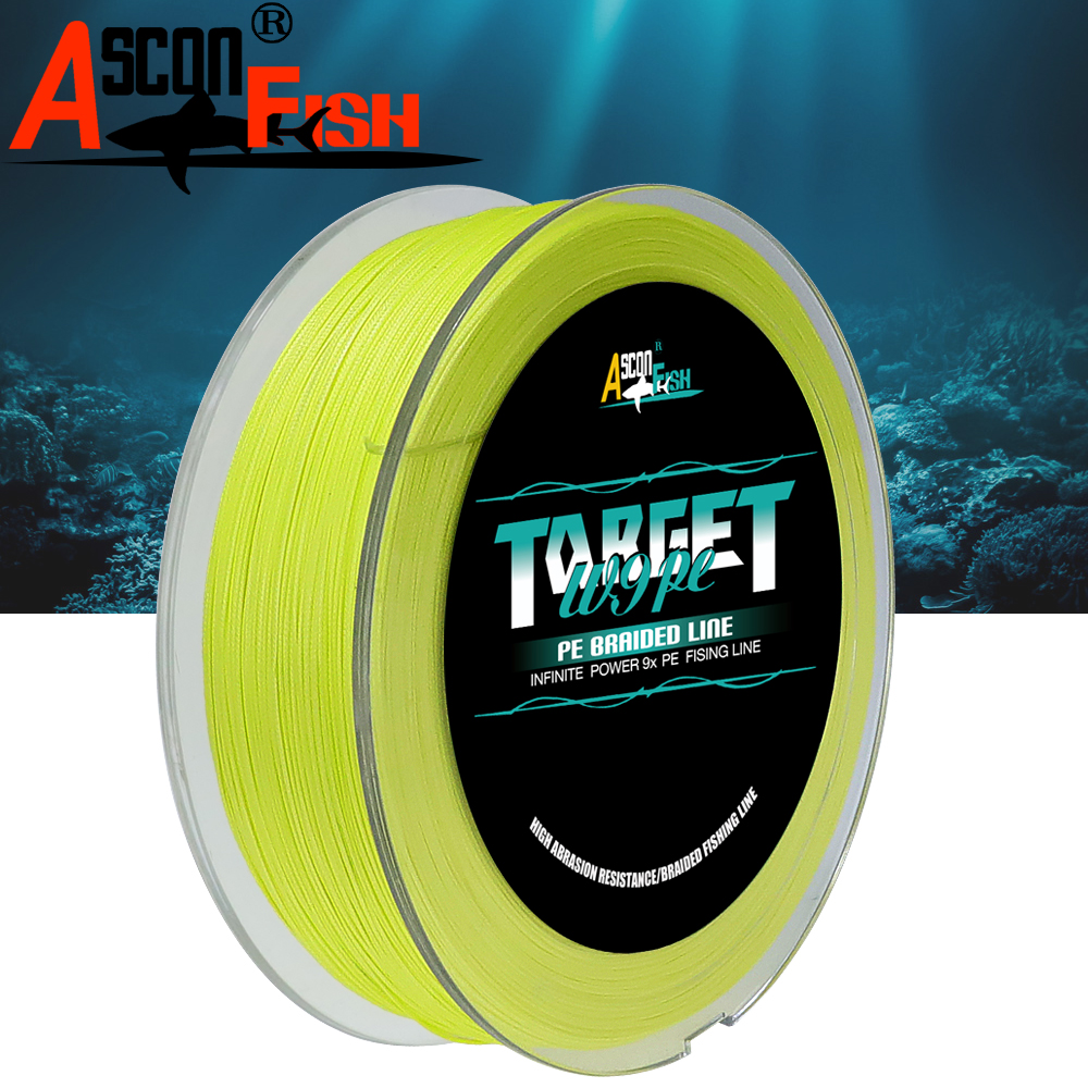 Ascon Fish 9 Strands Braided Fishing Line 500m Multifilament Fishing Line 9 Braid PE Rope Tippet 15-310LB Carp-fishing Tackle