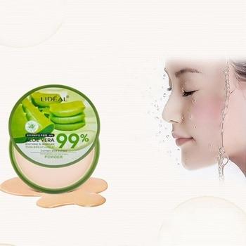 Natural Face Aloe Vera Moisturizing Whitening Brighten Smooth Foundation Concealer Pores Cover Pressed Powder