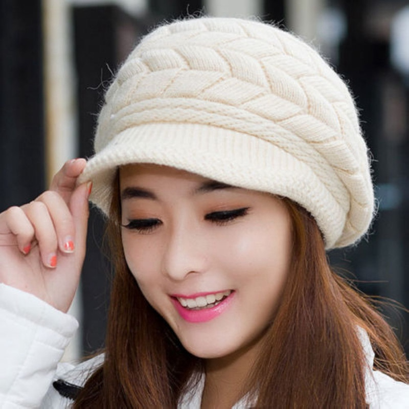 New Warm Winter Women Girls Twist Knit Crochet Beanie Hat Fashion Casual Ladies Solid Beret Baggy Slouch Cap Bonnet