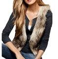 IMC Женщины Без Рукавов Повседневная Искусственного Меха Жилет Жиле Пальто Куртки