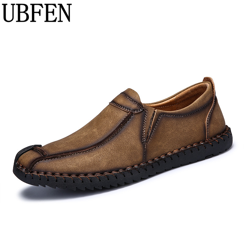 UBFEN Hot 2017 Handmade Casual Shoes For Men Loafers Comfortable Soft Flats Male Driving Shoes Slip On Split Leather Shoes men s genuine leather casual shoes handmade loafers for male men waterproof flat driving shoes flats
