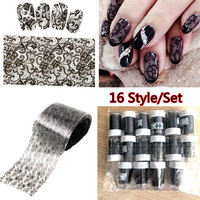 16Pcs Black Lace Flowers Nail Art Transfer Foils Sticker White Sexy Floral Decal Tip Decoration Glue